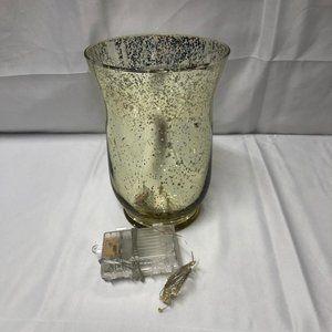 "Set of (2) 8"" Illuminated Mercury Glass Hurricanes"